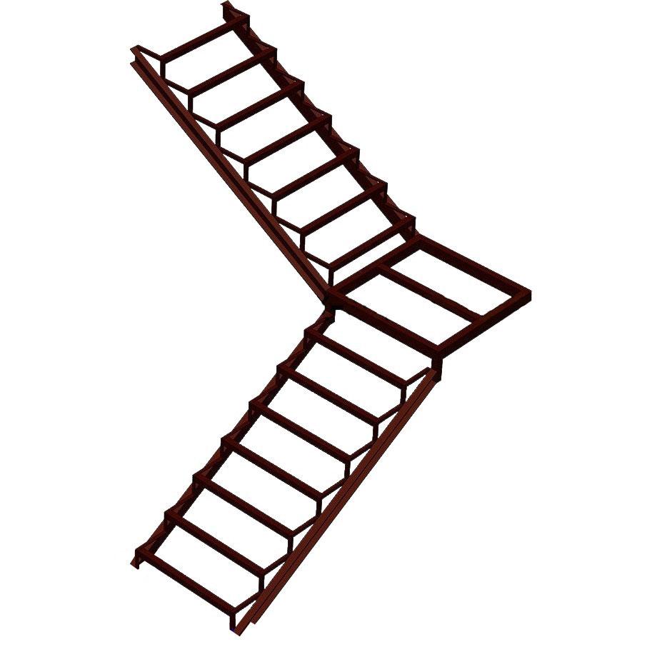 Лестница на закрытом каркасе с промежуточной площадкой и поворотом 90°